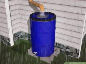 Collect run-off water in rain barrels, or even large polyethylene, wood or fiberglass tanks