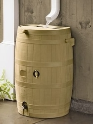 Flat-Back Rain Barrel, Tan - Decorative Rain Barrels