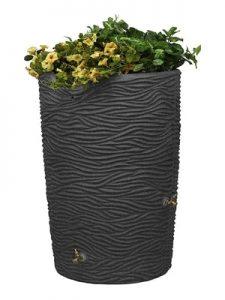 Good Ideas IMP-L65-DAR Impressions Palm Rain Saver, 65-Gallon, Dark Granite, rain barrel with planter - Decorative Rain Barrels