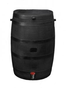 RTS Home Accents 50-Gallon ECO Rain Water Collection Barrel, Made with 100% Recycled Plastic and Plastic Spigot, Black - Decorative Rain Barrels