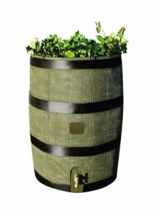 RTS Home Accents Round 35-Gallon Rain Barrel with Brass Spigot and Built-In Planter, Woodgrain(with Planter) - Decorative Rain Barrels