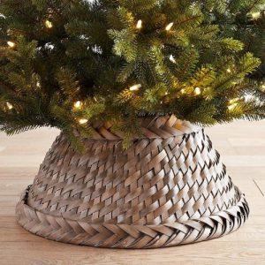 grey wicker Christmas tree collars