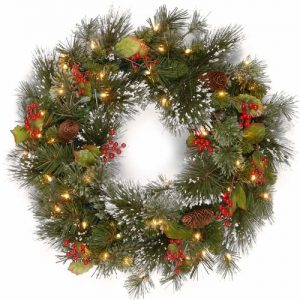 Christmas decoration lights Wreath with pine cones
