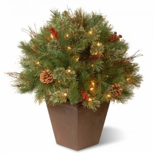 -christmas National Tree decoration 24 Inch Glistening Pine Porch Bush