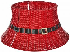 red wicker Christmas tree collars