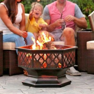 Hex Shaped Fire Pit for Outdoor Patio garden with Bronze Heavy Steel