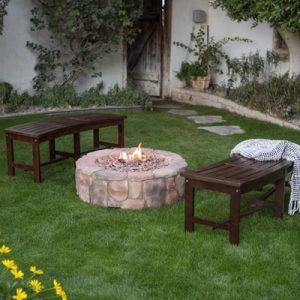 Outdoor Fire Pit Natural Gas 36 In. Patio Deck Stone Heater Cover Backyard NEW