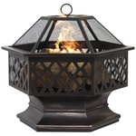 Hex Shaped Fire Pit for Outdoor Patio garden with Heavy Steel