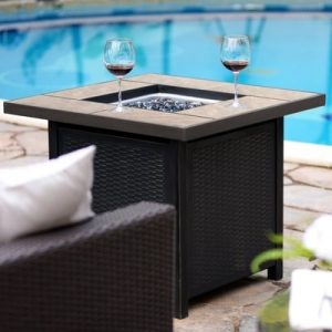 Outdoor Gas Fire Pit Propane Gas Heater Patio Square Table