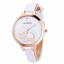 Loweryeah Elephant White Mirror Quartz Watch Student Men and Women Watches - bargain finds