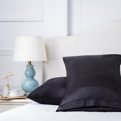 Bedsure Satin Pillowcase for Hair and Skin Queen Size Black Set of 2 Envelope Closure Pillow Cases