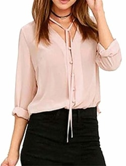 YUNY Women's Summer Long Sleeve V-Neck Button Down Chiffon Blouse Shirt