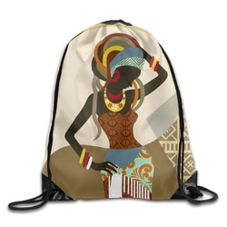 African Art Women Unisex Outdoor Gym Sack Bag Travel Drawstring Backpack Bag